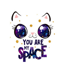 Cute cat face with space in eyes kawaii style vector