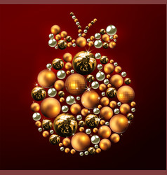 decorative christmas ball made of golden balls vector image