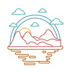 desert scape cartoon neon lines vector image