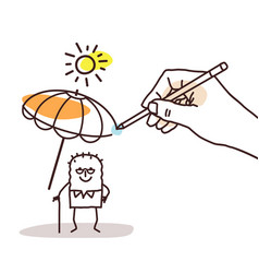 Drawing big hand - cartoon old man with parasol vector