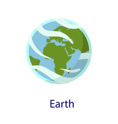 earth space planet icon flat style vector image