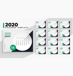 Elegant 2020 business style calendar layout vector