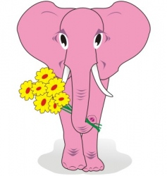 elephant with flowers vector image