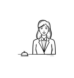 female receptionist in a hotel with a reception vector image