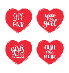 fight like a girl grl pwr etc hand lettering set vector image