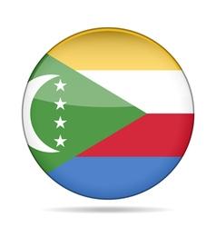 Flag of comoros shiny round button vector