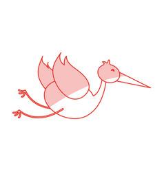 flat line stork design vector image