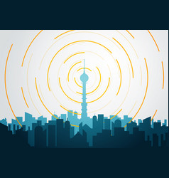 flat style tower with radio tv signal transmitter vector image
