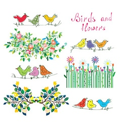 Floral design elements and birds set vector image vector image