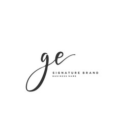 G e ge initial letter handwriting and signature vector