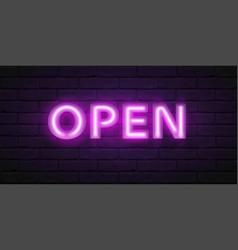 glowing violet neon script open font vector image