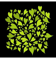 Green hearts background for your design vector image