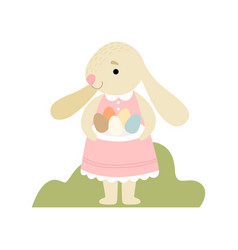 happy cute bunny in pink dress holding plate vector image