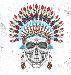 hipster skull with indian feather headdress vector image