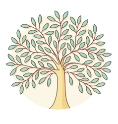 Icon of green tree in circle background Colorful vector image