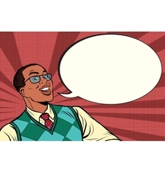 Intelligent african with glasses says comic bubble vector