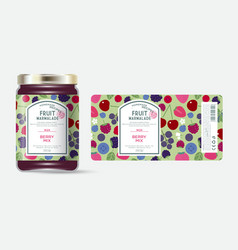 Label packaging jar marmalade pattern berries mix vector