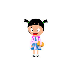 little girl in school uniform backpack and book vector image