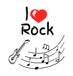 love rock music style poster with notes sketches vector image
