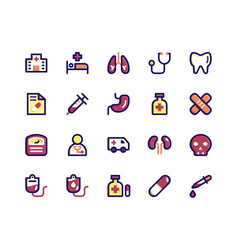 medical filled line icons vector image