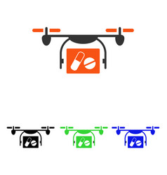 medical quadcopter flat icon vector image