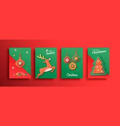 Merry christmas papercut deer ornament card set vector