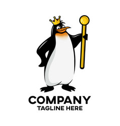 modern royal penguin mascot logo vector image