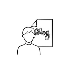 online blog hand drawn outline doodle icon vector image
