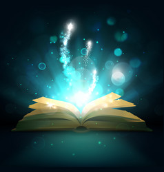 Open magic book light sparkles vector