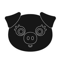 Pig muzzle icon in black style isolated on white vector