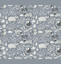 polar animals seamless pattern isolated on gray vector image