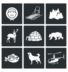 Population and fauna of the north Icons Set vector image