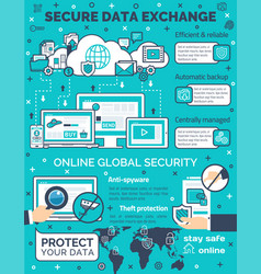 Poster for secure data exchange vector