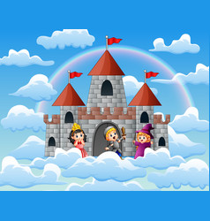 princess knight and witch in front of the castle vector image