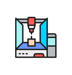 Professional 3d printer 3 dimensional model flat vector