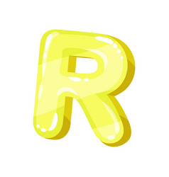 R yellow glossy bright english letter kids font vector