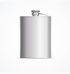 Realistic detailed 3d metal hip flask vector