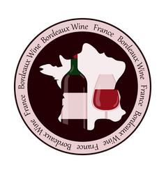 Round wine bottle label vector