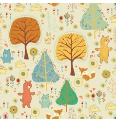 Seamless pattern in childish cartoon style vector image