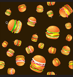 seamless pattern tasty burger grilled beef and vector image