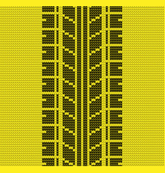 Seamless yellow tire track knitting vector