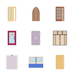 Security door icons set cartoon style vector image