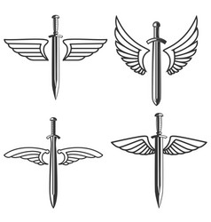 Set emblems with medieval sword and wings vector