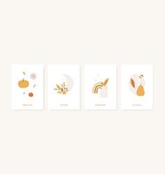 set of fall season greeting cards and poster vector image