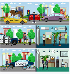set of police concept posters banners in vector image