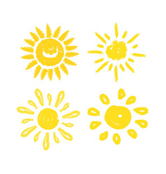Set of suns four painted solar symbols vector