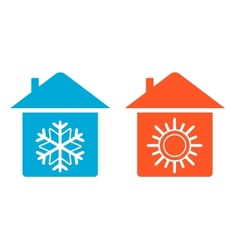 set warm and cold in home icon vector image