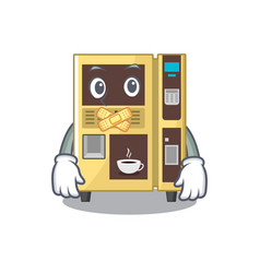 Silent coffee vending machine in cartoon vector