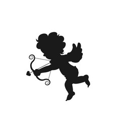 silhouette amour cupid baby symbol ancient vector image