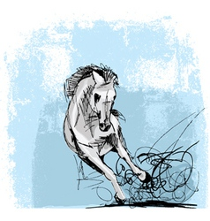 Sketch of white horse running vector image